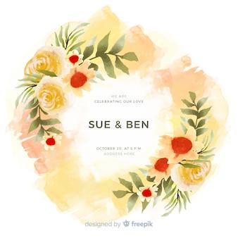 Красочная акварель цветочная рамка свадебное приглашение