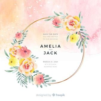 カラフルな水彩花のフレームの結婚式の招待状