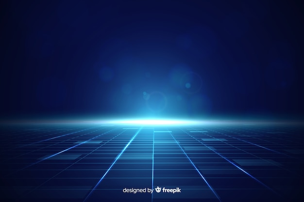 青い光と未来の地平線の背景