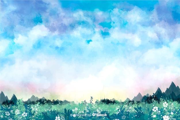 Акварель абстрактный пейзажный фон