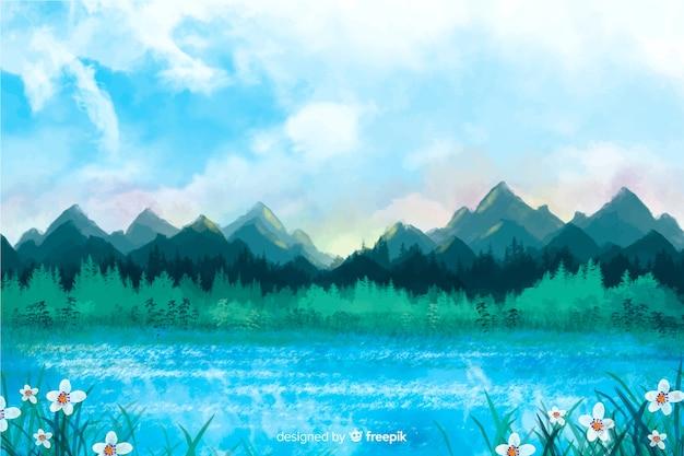 風景の水彩画の抽象的な背景