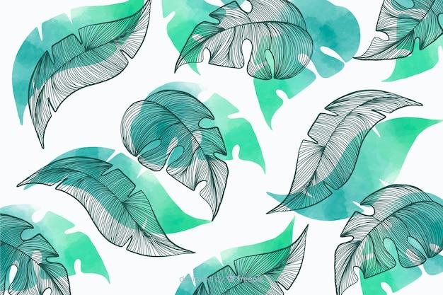Растительность фон с рисованной листьями