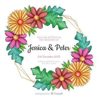 花と結婚式の招待状のフレーム