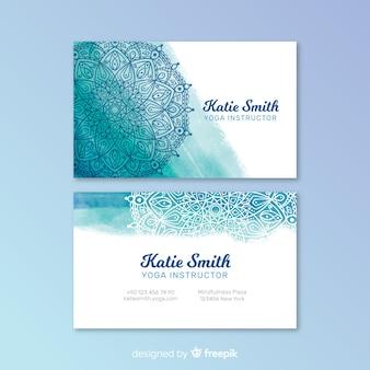 Шаблон акварельной мандалы визитки