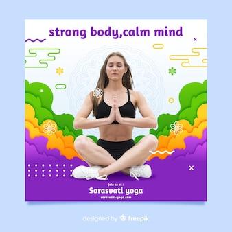 瞑想の女性とヨガのチラシ