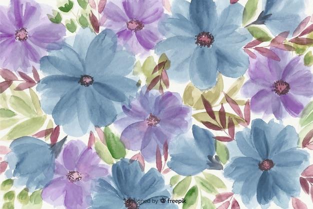 カラフルな水彩花の背景