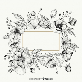 Реалистичные рисованной цветы с пустой баннер