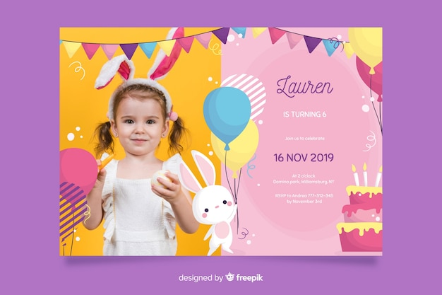 写真とバニーの誕生日の招待状のテンプレート