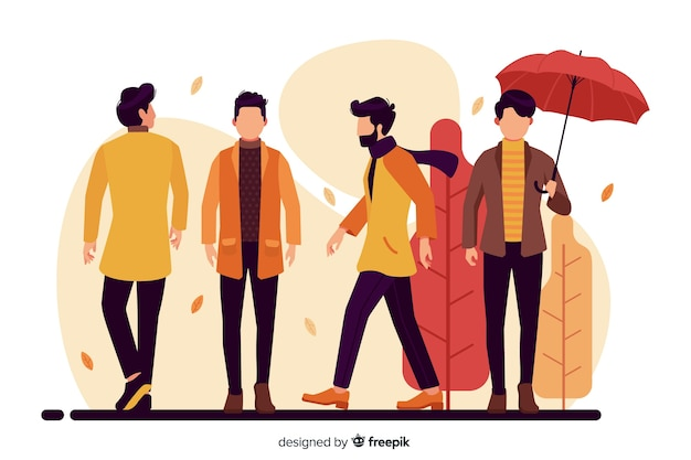 秋の服を着ている人