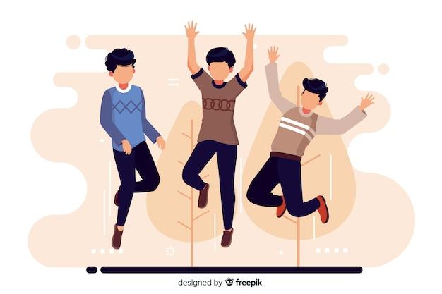 若者がジャンプして楽しんで