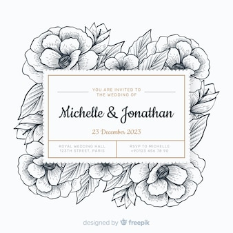 手描きの上品な結婚式の招待状