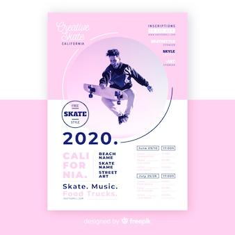 Шаблон спортивного плаката с фотографией кьяроскуро
