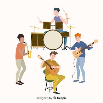 音楽の楽器を演奏する人々