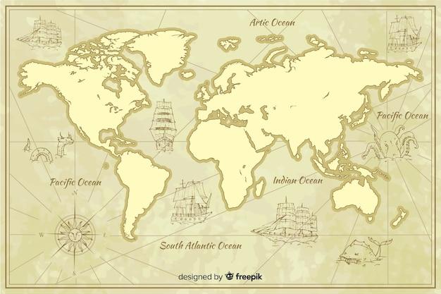 Географическая винтажная карта мира