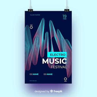 波テンプレートと抽象的な音楽ポスター