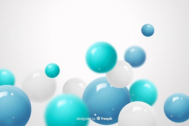 流れる光沢のある球の現実的な背景