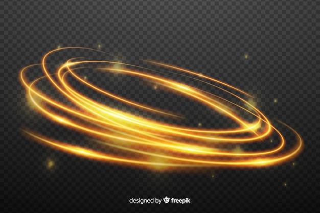 黄金の光の抽象的な渦巻き効果