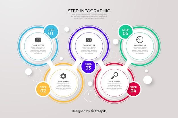 カラフルなインフォグラフィックの手順のコレクション