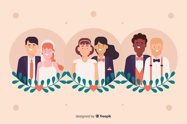 Коллекция свадебной пары на плоском дизайне