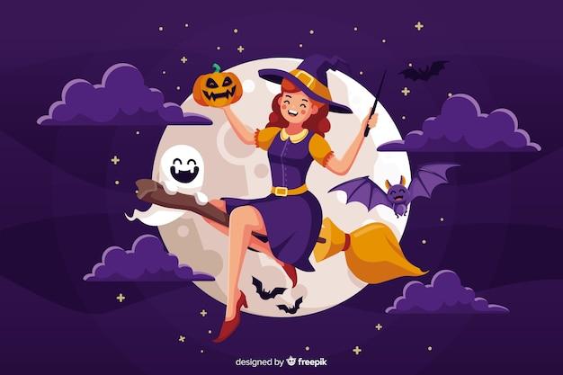 Милая ведьма хэллоуин с метлой