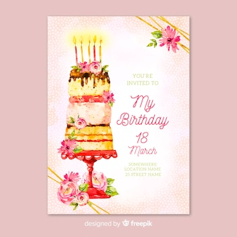テンプレート花誕生日の招待状