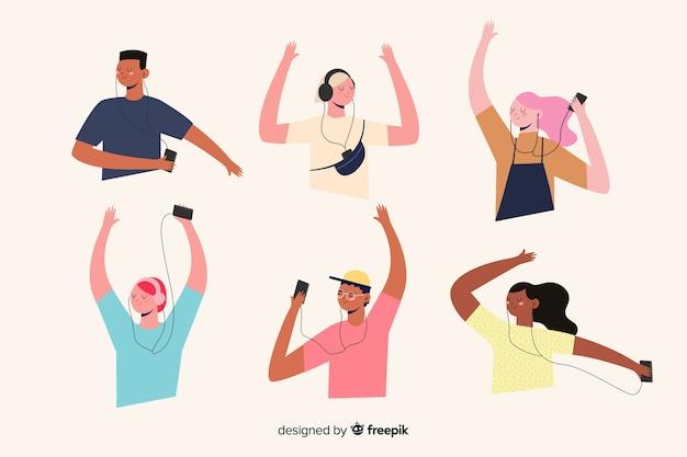 Дизайн иллюстрации с людьми, слушающими музыку