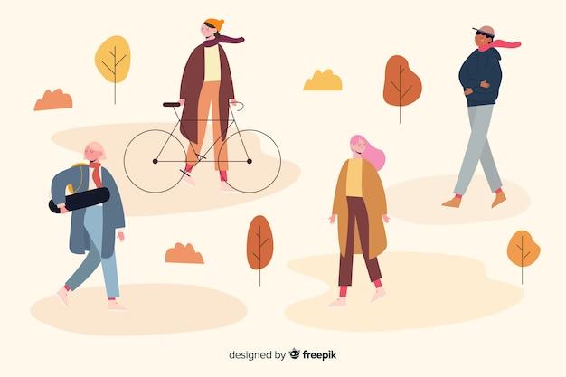 公園イラストデザインの秋の活動