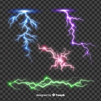 シンプルな背景に抽象的なカラフルな雷コレクション