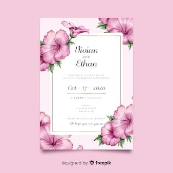 Красивая акварель цветочные свадебные приглашения шаблон