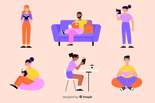 Молодые люди читают красочные иллюстрации