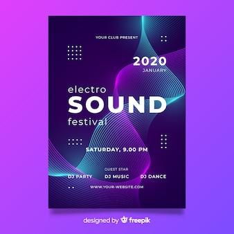 Волна электронная музыка абстрактный постер шаблон
