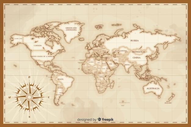 Художественная винтажная концепция рисования карты мира