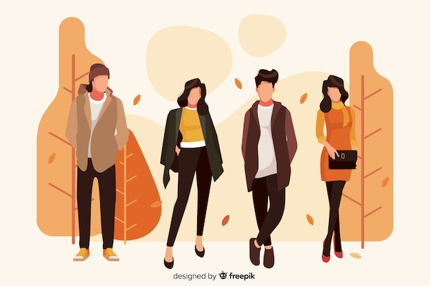 Иллюстрация с персонажами в одежде