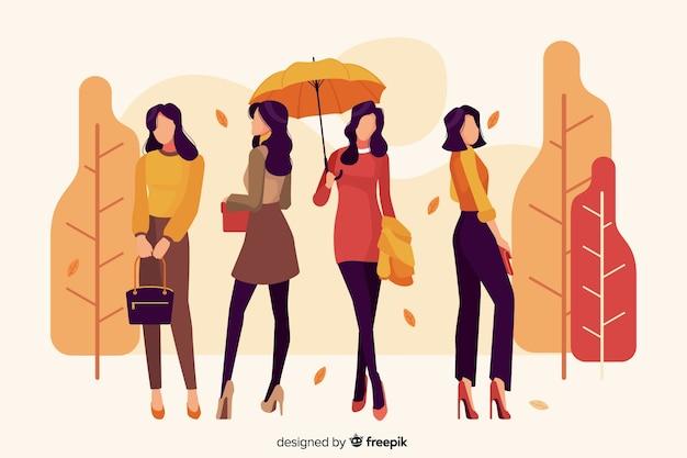 Сезонная одежда для осенней иллюстрации