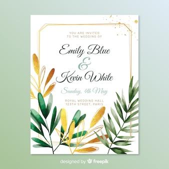 Прекрасное свадебное приглашение с листьями
