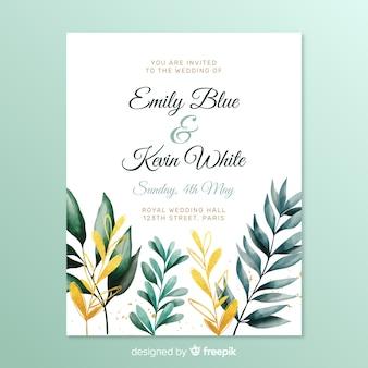 Простое свадебное приглашение с листьями