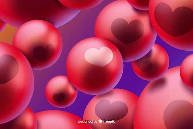 赤い泡と抽象的な背景