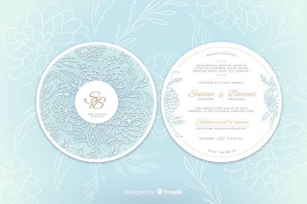 花を持つシンプルな結婚式の招待状