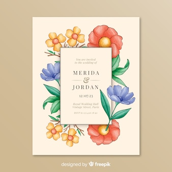 カラフルな花のフレームでの結婚式の招待状