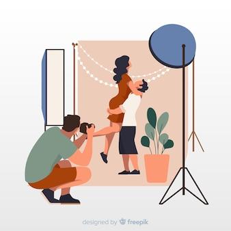 働くカメラマンとイラストのコンセプト