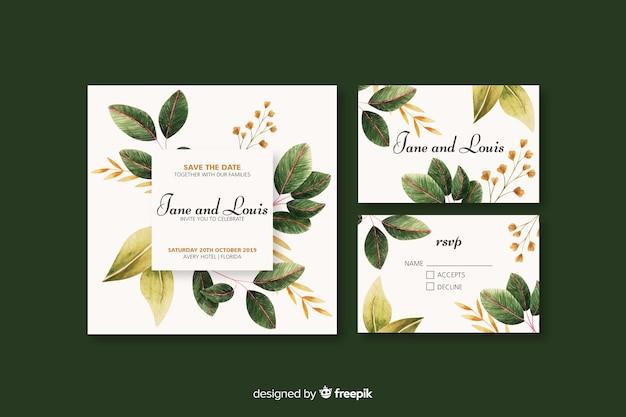 結婚式招待状の花のテンプレート