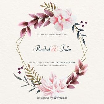エレガントな花のフレームの結婚式の招待状