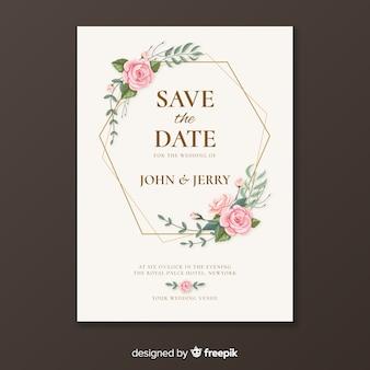 黄金の結婚式の招待状のテンプレート