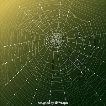 緑のグラデーションの背景を持つ現実的なクモの巣