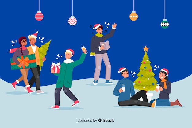Люди празднуют рождество мультяшном стиле