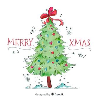 リボンと水彩の緑のクリスマスツリー