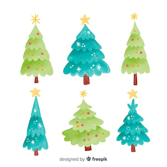 クリスマスツリーのさまざまな緑の色合い