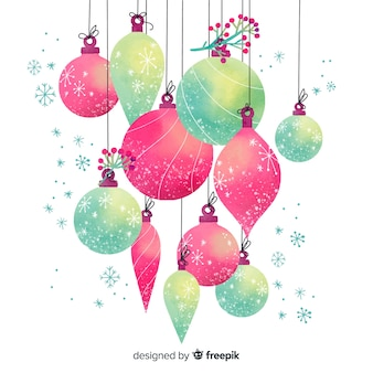 Композиция из акварельных новогодних шаров