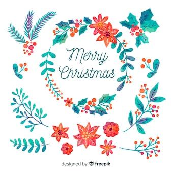 水彩デザインのクリスマスデコレーションの花の花輪
