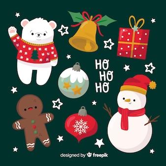 緑の背景に手描きのクリスマス要素のコレクション